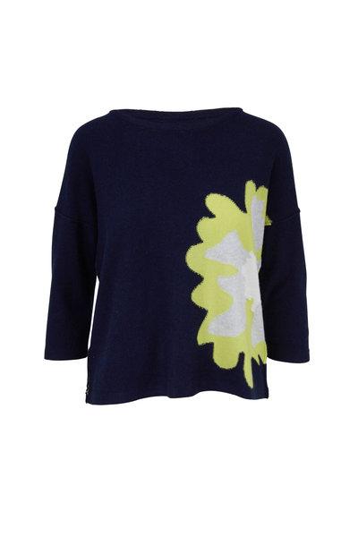 Kinross - Stargaze Multi Cashmere Floral Intarsia Sweater