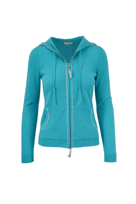 Kinross Lagoon & Seagull Cashmere Front Zip Hoodie