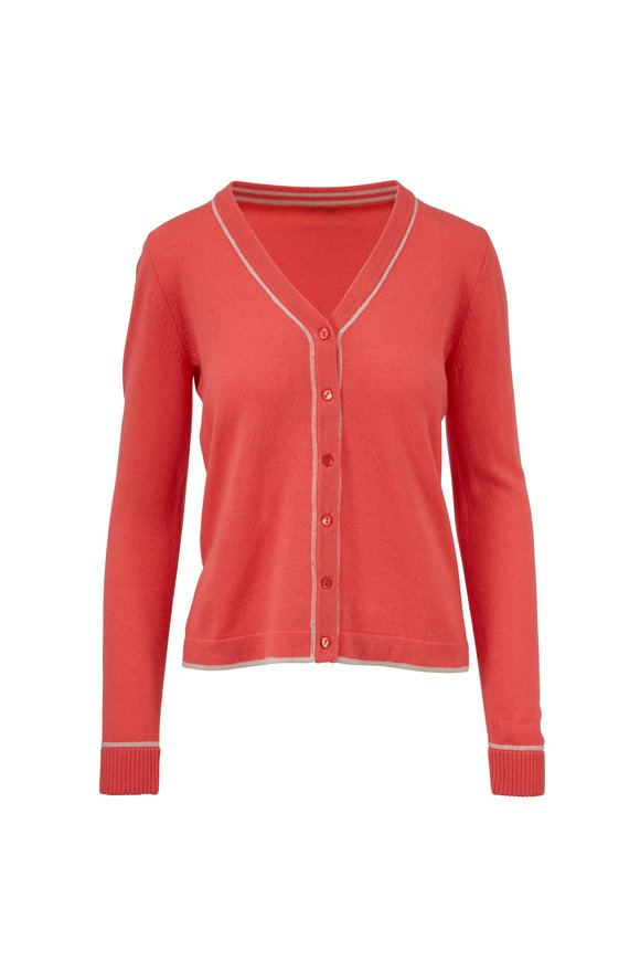 Kinross Coral & Boardwalk Cashmere V-Neck Cardigan