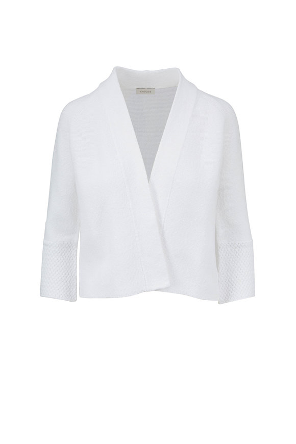 Kinross White Cotton Bell Sleeve Cardigan