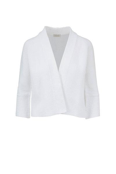 Kinross - White Cotton Bell Sleeve Cardigan