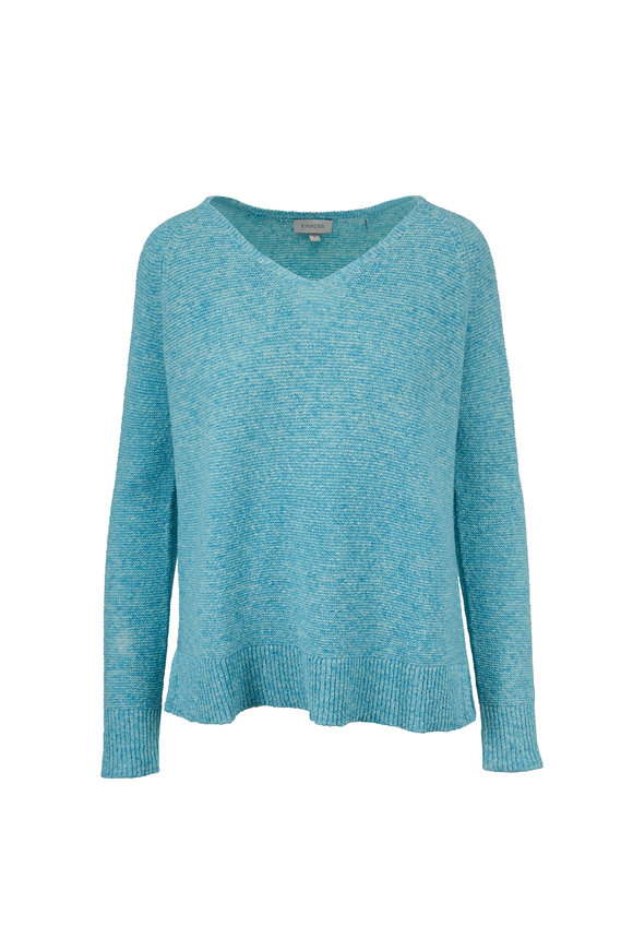 Kinross Easy Lagoon Cotton V-Neck Sweater