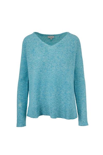 Kinross - Easy Lagoon Cotton V-Neck Sweater