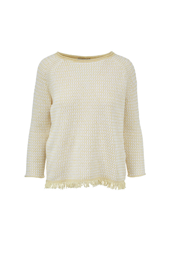 Kinross Sunray & White Cotton Fringe Hem Sweater