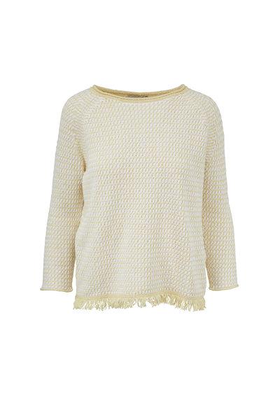 Kinross - Sunray & White Cotton Fringe Hem Sweater
