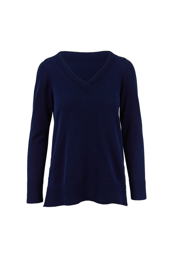 Kinross Navy Fine Gauge Cotton Sweater