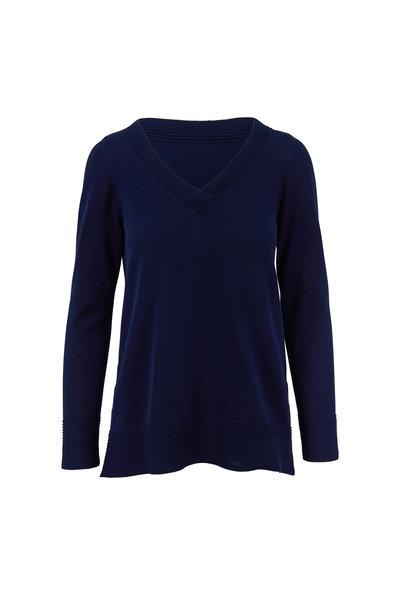 Kinross - Navy Fine Gauge Cotton Sweater