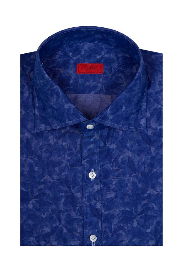 Isaia Blue Camo Floral Print Sport Shirt