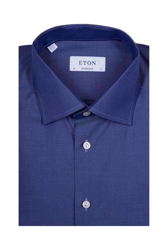 Eton Solid Navy Blue Dress Shirt