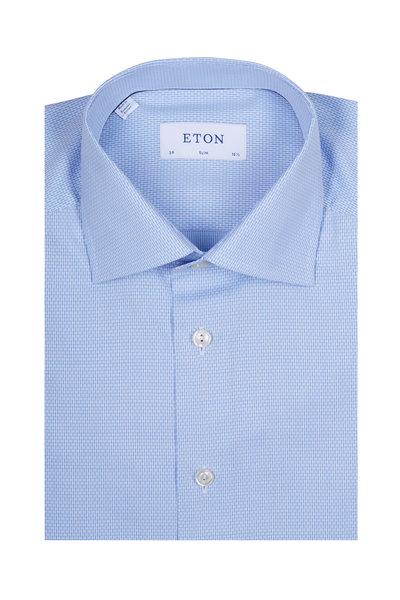 Eton - Light Blue & White Micro Dot Block Dress Shirt