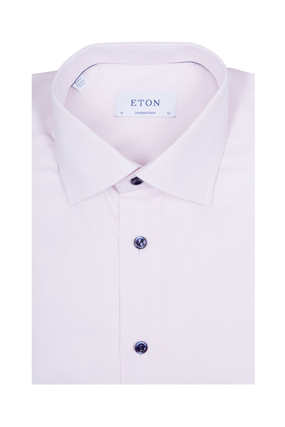 Eton Solid Dusty Pink & Navy Buttons Dress Shirt