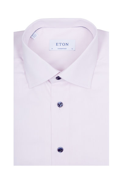 Eton - Solid Dusty Pink & Navy Buttons Dress Shirt