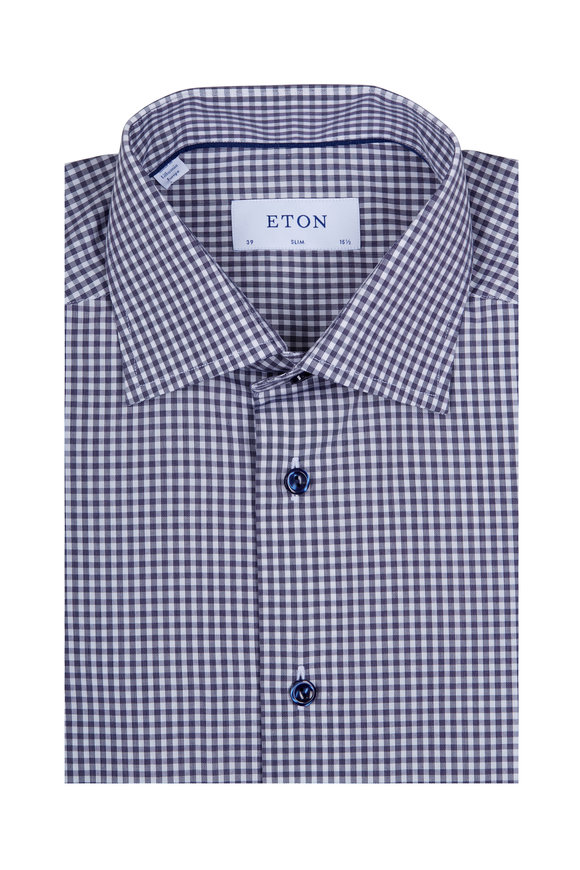 Eton Navy & White Check Navy Button Dress Shirt