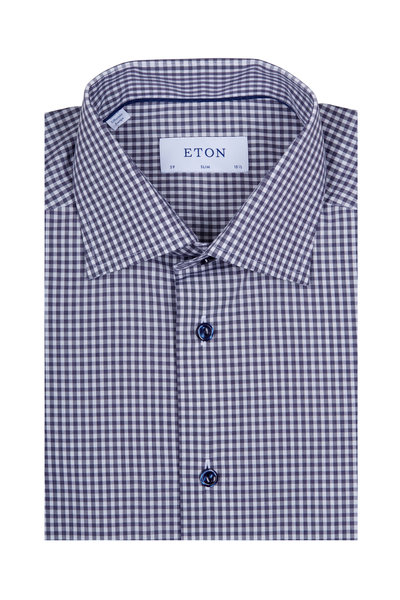 Eton - Navy & White Check Navy Button Dress Shirt