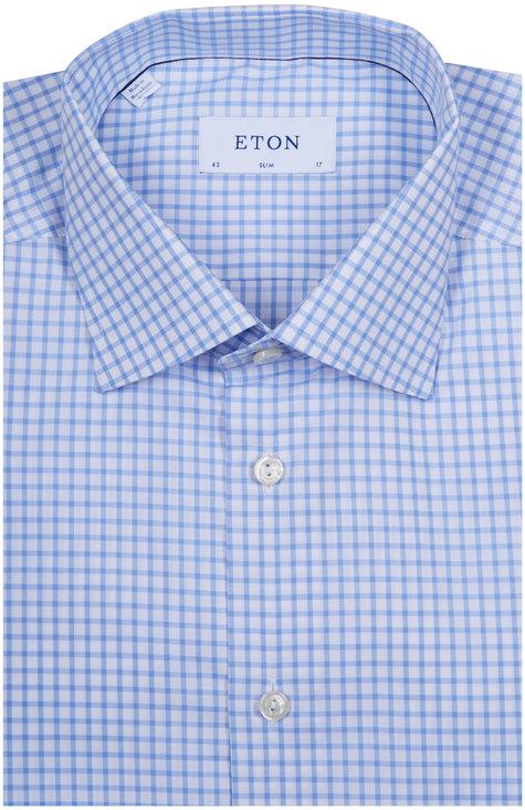 Eton Light Blue Check Slim Fit Dress Shirt