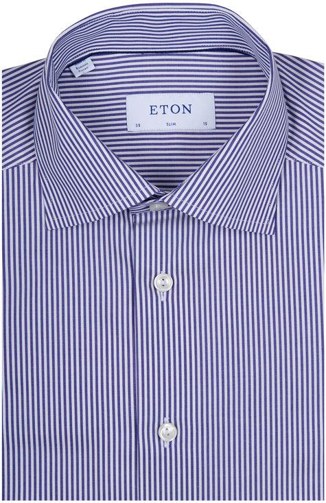 Eton Navy Blue & White Striped Slim Fit Dress Shirt