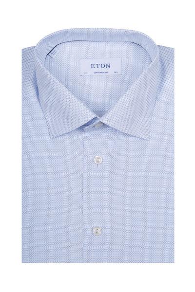 Eton - Light Blue Micro Print Dress Shirt