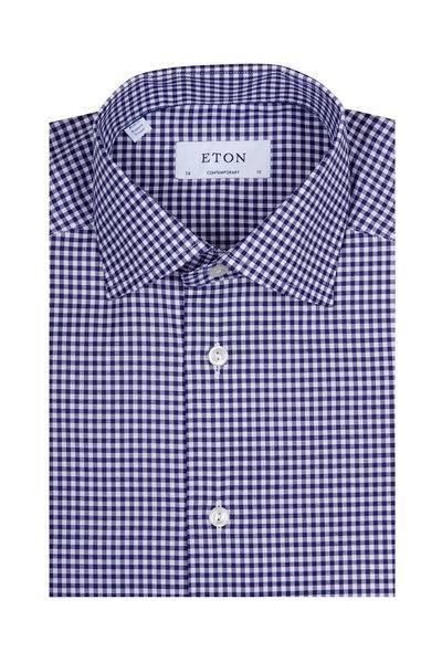 Eton - Navy Blue Check Dress Shirt