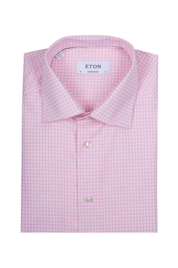 Eton Pink & White Check Dress Shirt