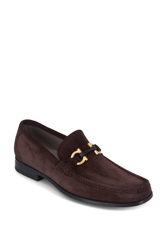 Salvatore Ferragamo Grandioso Dark Brown Suede Bit Loafer