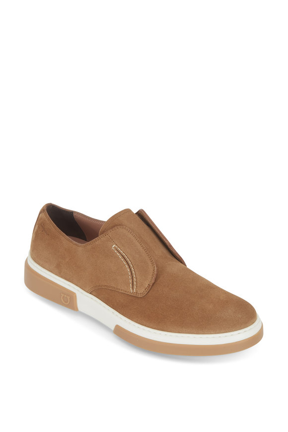 Salvatore Ferragamo Amber Brown Sugar Suede Slip-On Loafer