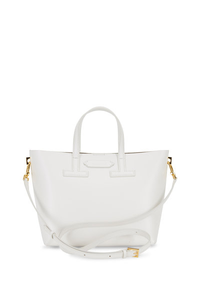 Tom Ford - White Saffiano Leather Mini T Tote