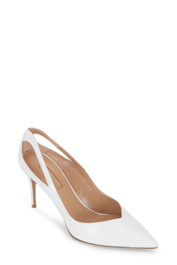 Shiva White Leather Cut-Out Pump, 85mm