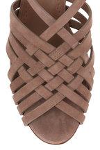 Manolo Blahnik - Edita Taupe Suede Woven Sandal, 70mm