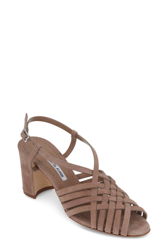 Manolo Blahnik Edita Taupe Suede Woven Sandal, 70mm