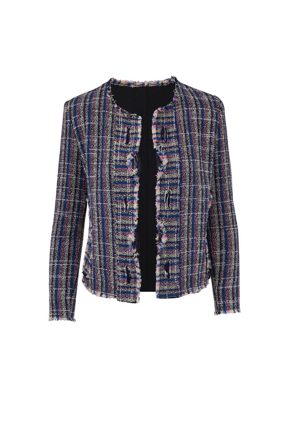 IRO Frannie Blue Tweed Open Front Jacket
