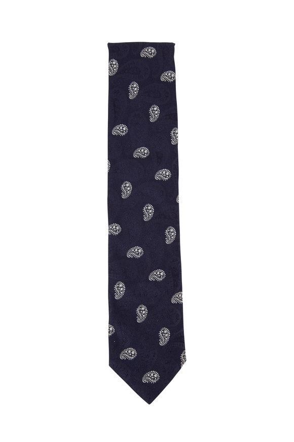 Eton Navy Blue Paisley Silk Necktie