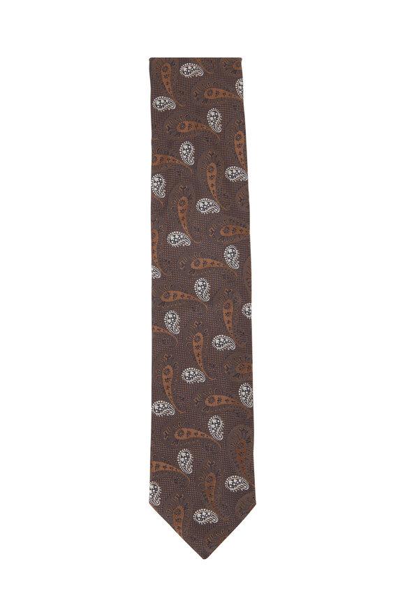 Eton Brown Paisley Silk Necktie