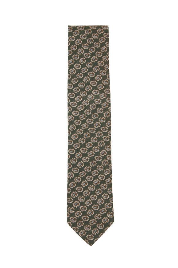 Eton Green Mini Paisley Silk Necktie