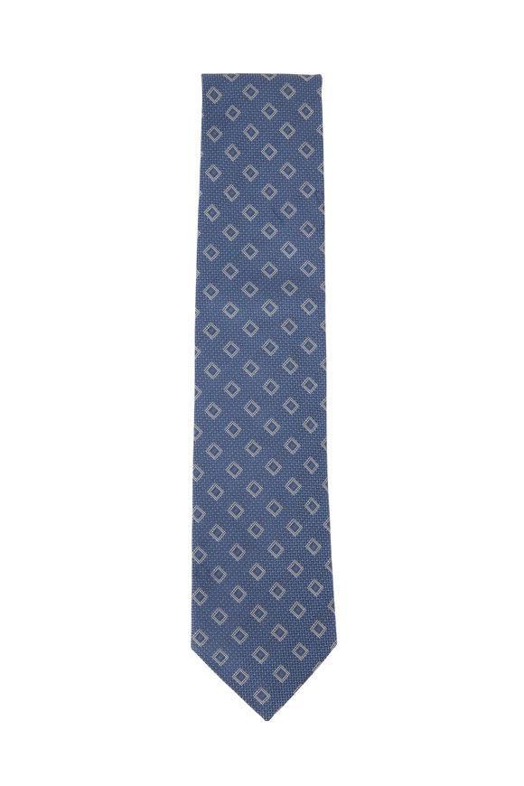 Eton Navy Diamond Pattern Cotton & Silk Necktie