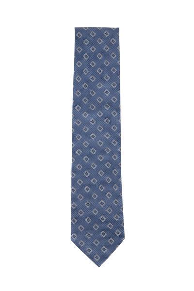 Eton - Navy Diamond Pattern Cotton & Silk Necktie