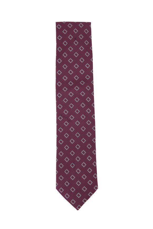 Eton Red Deco Pattern Cotton & Linen Necktie