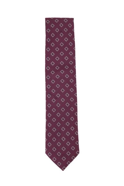 Eton - Red Deco Pattern Cotton & Linen Necktie