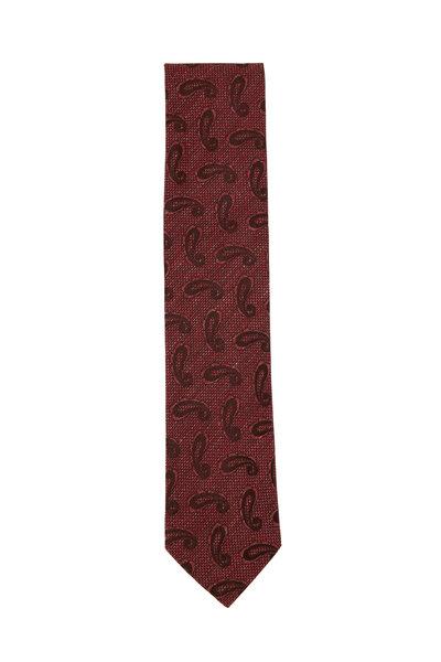 Eton - Red Tonal Paisley Linen & Silk Necktie