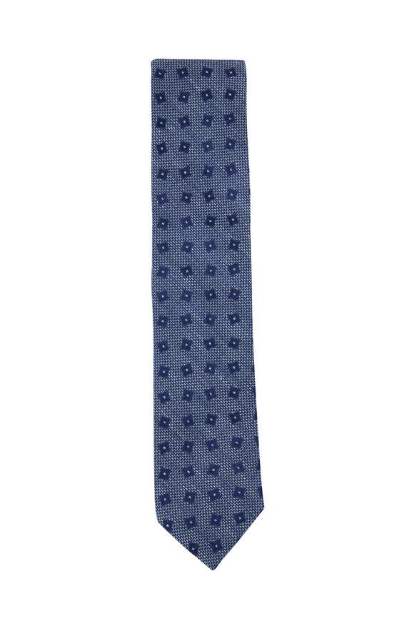 Eton Blue Tonal Geometric Print Linen & Silk Necktie