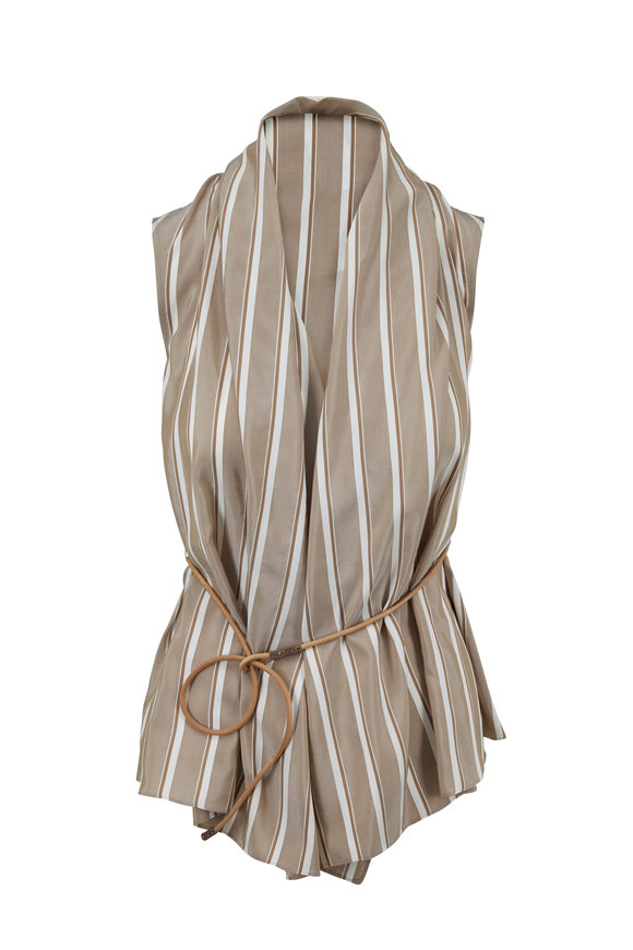 Brunello Cucinelli Tobacco Silk Striped Belted Top