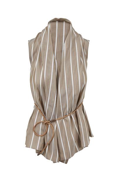 Brunello Cucinelli - Tobacco Silk Striped Belted Top