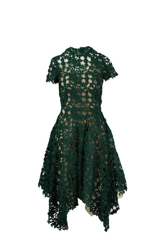 Oscar de la Renta Basil Green Lace Cap-Sleeve Dress