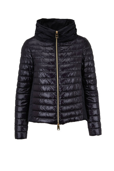 Herno - Black Nylon & Taffeta Back Puffer Jacket