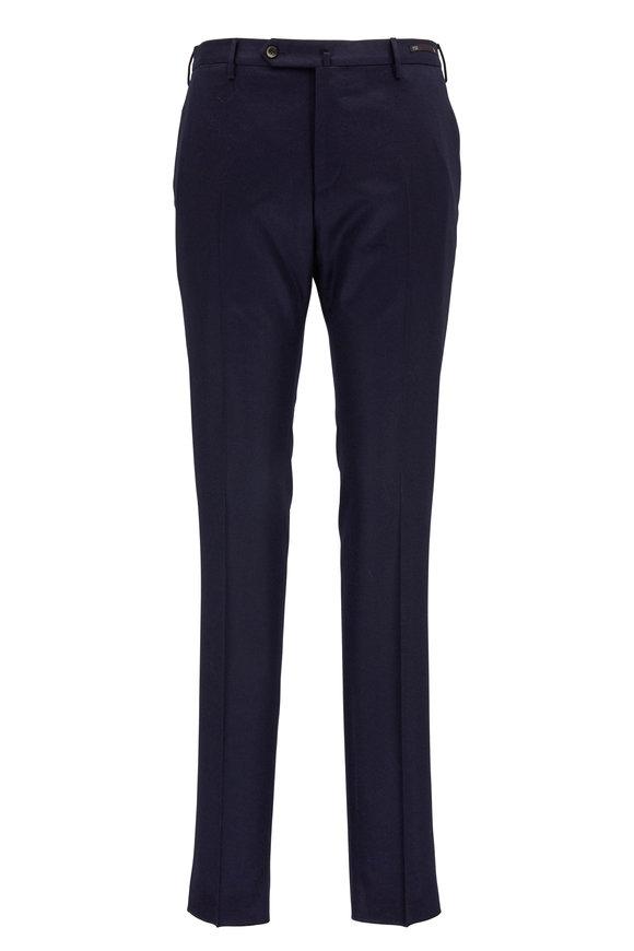 PT Pantaloni Torino Navy Stretch Wool Slim Fit Pant