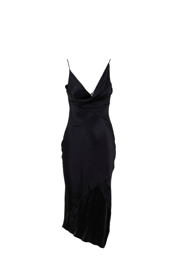 Cushnie Hudson Black Silk Cowlneck Dress