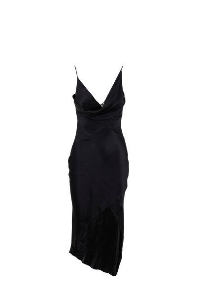 Cushnie - Hudson Black Silk Cowl Neck Sleeveless Dress