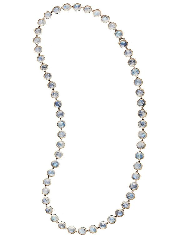 Irene Neuwirth 18K Yellow Gold Rainbow Moonstone Chain Necklace
