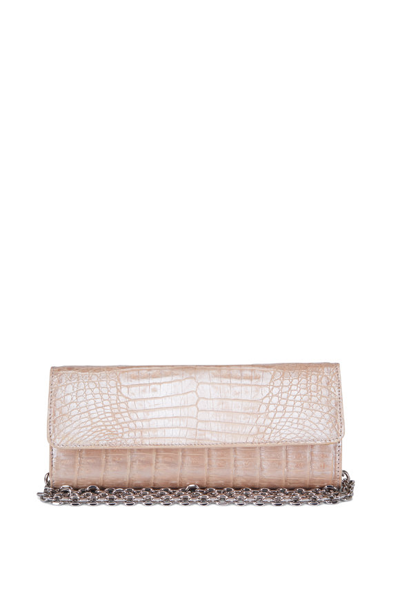 Judith Leiber Kate Nude Crocodile Chain Clutch