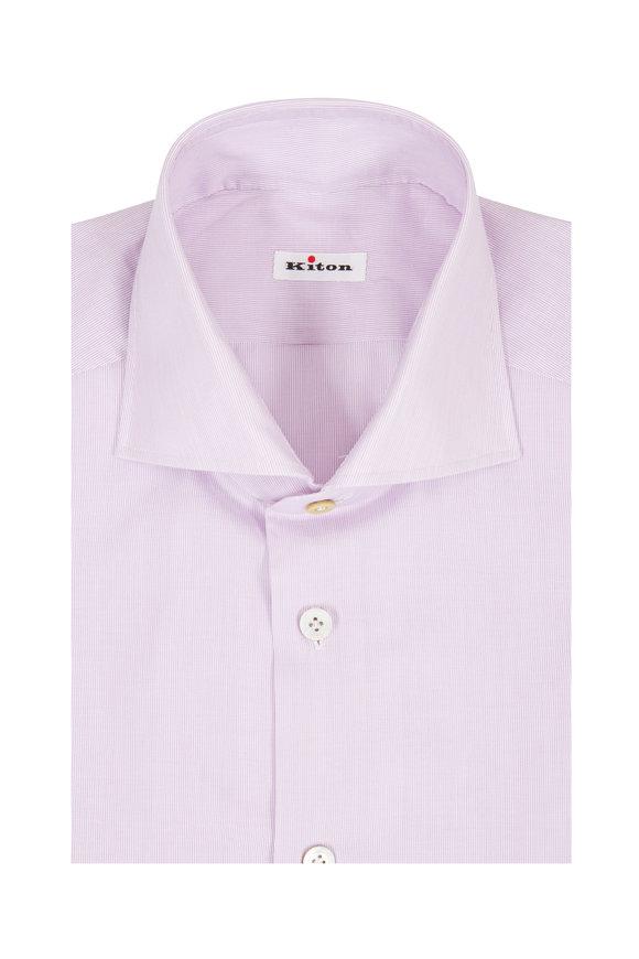 Kiton Lavender Micro-Striped Dress Shirt