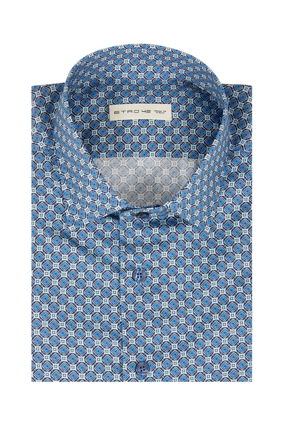 Etro Navy Blue Geometric Sport Shirt